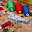 Stock Photo: Background with sewing items
