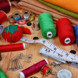 Stock Photo: Background vertical with sewing items