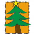Illustration of Christmas tree decorated with barbed wire rim — Stock Photo