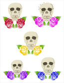 Five duets of skulls and roses — Stock Vector