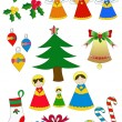 Pack Christmas figures — Stock Vector