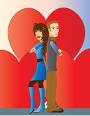 Couple with Hearts — Stockvektor