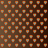 Colorful hearts on brown background — Stock Photo