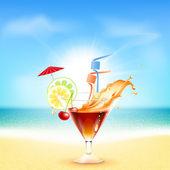 Cocktail on beautiful sunny beach — Stock Vector