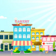 Постер, плакат: Small town with small and medium business