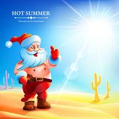 Santa Claus hot in summer. — Stock Vector