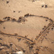 Drawn heart on the sand  — Foto de Stock
