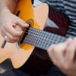 Man playing acoustic guitar close up outdoors — Stock Photo #34090459
