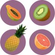 set de icono de fruta — Vector de stock
