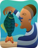Cubist Fisherman — Stock Vector