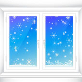 Winter behind a window — Stock Vector
