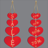 Sale discount in hearts — Stock Vector