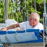 Man on boat deck — Stock Photo