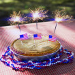 4th of July Apple Pie with Sparklers Close-Up — Stock Photo #27095139