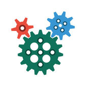 Interlocking Gears in Flat Style — Stock Vector