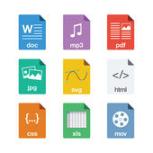 File Icons in Flat Style — Stock Vector