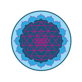 Sri Yantra on Lotus — Stock Vector