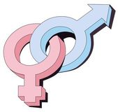 Gender symbols interlocked — Stock Photo