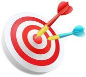 Two darts in the dartboard — Stock Photo