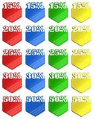 Colored discount labels — Stock Photo