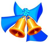 Golden Christmass bells with ribbon — Stock Photo