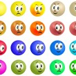 Set of grinning and smiling colored balls faces — Stock Photo