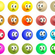 Set of grinning and smiling colored balls faces — Stok fotoğraf #32946701