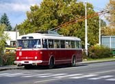 Old red trolley car Skoda 9Tr at the bus station — Stock Photo