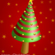 Wish card with conical Christmas tree and golden balls — Stock Photo