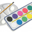 Set of water colors with brush and palette — Stock Photo