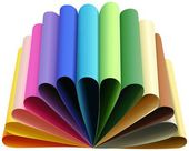 Set of thirteen colored papers folded to arcs — Stock Photo