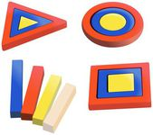 Colored wooden puzzles for small kids — Stock Photo