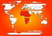 Sliced world map white continents with red warm Africa — Stock Photo