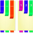 Papers with bright colored and folded bookmarks, vertical — Stock Photo #44808239
