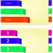 Papers with bright colored and folded bookmarks, horizontal — Stock Photo