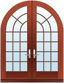 Closed two parts wooden halfmoon doors — Stock Photo