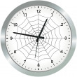 Metal analogue clock with spider web — Stock Photo #50387861