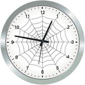Metal analogue clock with spider web — Stock Photo