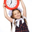A girl and a clock — Stock Photo
