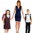 The teacher and the children go — Stock Photo #29944895