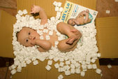 Baby in delivery package with instructions manual — Stock Photo