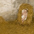 Baby jesus lying on hay in christmas scene — Stock Photo