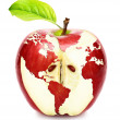 World map on red apple isolated on white background. — Stock Photo