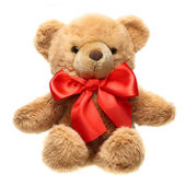 Classic teddy bear with red bow isolated on white background — Stock Photo