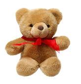 Clássico de ursinho de pelúcia com laço vermelho, isolado no fundo branco — Foto Stock