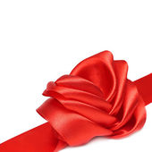 Red ribbon and rose bow isolated — Stock Photo