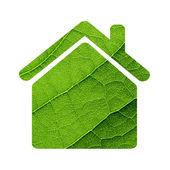 Grünes blatt makro-haus-symbol. — Stockfoto