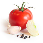 Red tomato , garlic, onion and pepper — Stock Photo