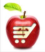 Rött äpple isolerad med kundvagn. — Stockfoto
