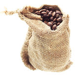 Coffee grain in canvas cack. — Stock Photo